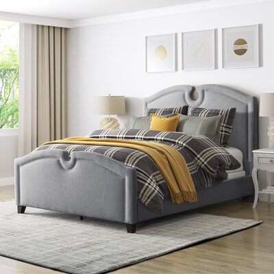 Debord Curved Top Upholstered Panel Bed Size: Queen, Color: Gray