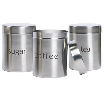 Stainless Steel 3 Piece Coffee, Tea, & Sugar Set
