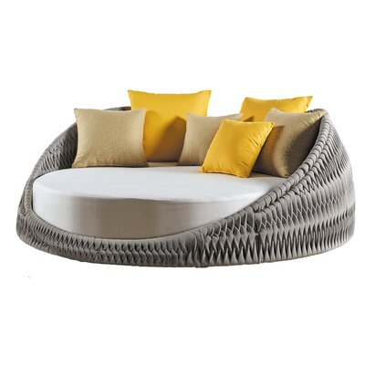 Kalife Round Loveseat with Cushions Fabric: Gray