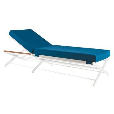 Oskar Chaise Lounge with Cushions Fabric: Blue
