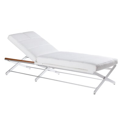 Oskar Chaise Lounge with Cushions Fabric: White