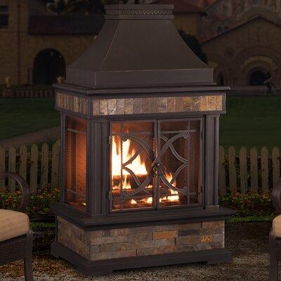 Sunjoy 110504011 Heirloom Steel Wood Burning Outdoor Fireplace