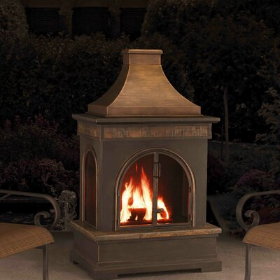 Sunjoy 110504012 Hardy Slate Steel Wood Burning Outdoor Fireplace