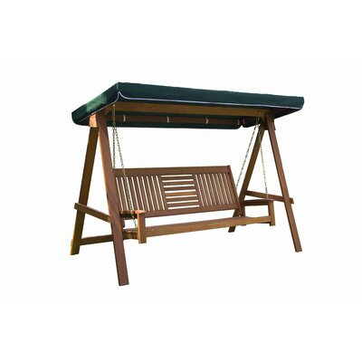 Allen 3 Seater Wood Canopy Porch Swing with Stand