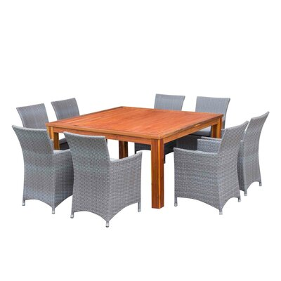 Bozrah Poly Rattan 9 Piece Dining Set with Cushions