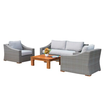 Branford Poly Outdoor 4 Piece Rattan Sofa Set with Cushions