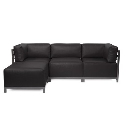 Woodsen Sectional with Cushions Finish: Titanium, Color: Black