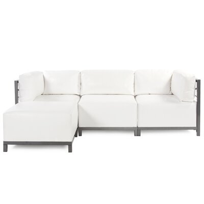 Woodsen Sectional with Cushions Color: White, Finish: Titanium