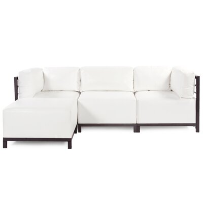 Woodsen Sectional with Cushions Color: White, Finish: Mahogany