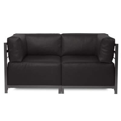 Woodsen Symmetrical Sectional Upholstery: Black, Frame Finish: Titanium