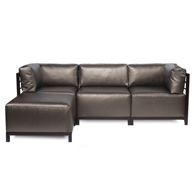 Woodsen Sectional with Cushions Finish: Mahogany, Color: Pewter