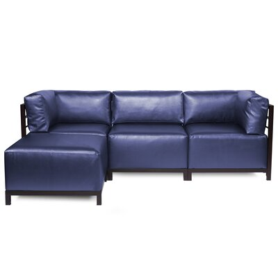 Woodsen Sectional with Cushions Finish: Mahogany, Color: Sapphire