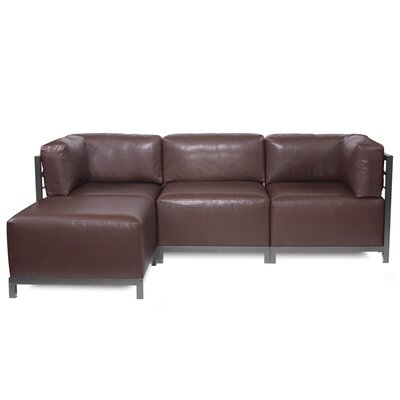 Woodsen Sectional with Cushions Color: Pecan, Finish: Titanium