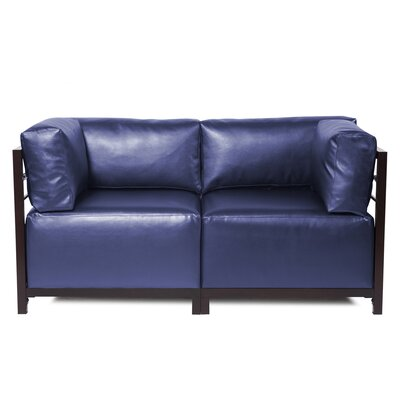 Woodsen Shimmer Sectional Upholstery: Sapphire, Frame Finish: Mahogany