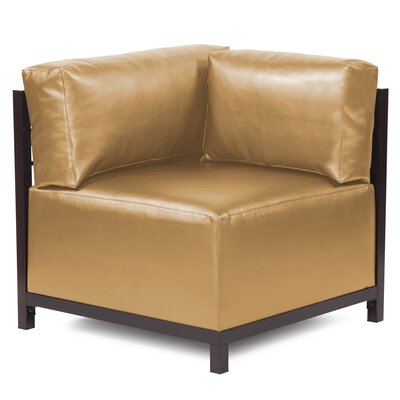 Woodsen Shimmer Corner Chair Frame Finish: Mahogany, Upholstery: Gold
