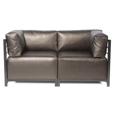 Woodsen Shimmer Sectional Upholstery: Pewter, Frame Finish: Mahogany
