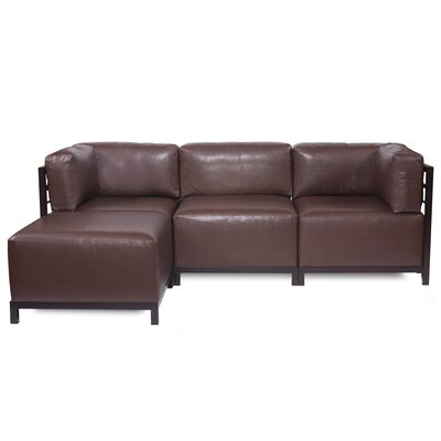 Woodsen Sectional with Cushions Color: Pecan, Finish: Mahogany