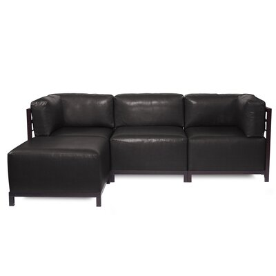 Woodsen Sectional with Cushions Finish: Mahogany, Color: Black