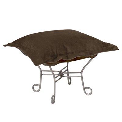 Azaria Scroll Ottoman Upholstery: Bella Chocolate, Frame: Titanium