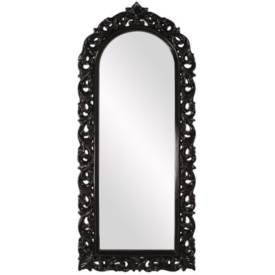 Rectangle Glossy Black Arched Mirror