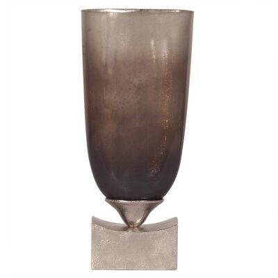Pearlized Antique Glass with Rustic Metal Base Vase Size: Tall