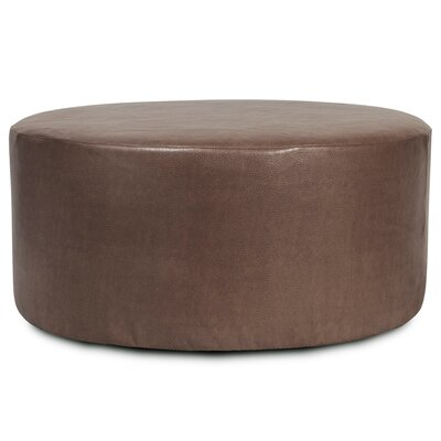 Round Polyester Ottoman Slipcover Upholstery: Pecan