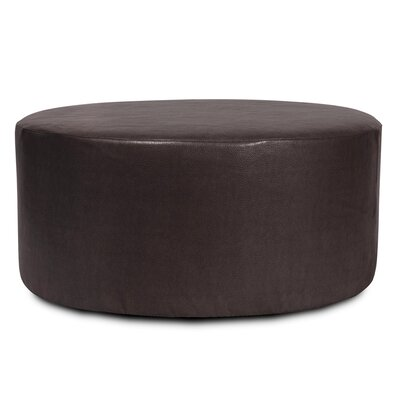 Round Polyester Ottoman Slipcover Upholstery: Black