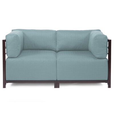 Woodsen Loveseat Upholstery: Polyester - Sterling Breeze, Frame Finish: Mahogany