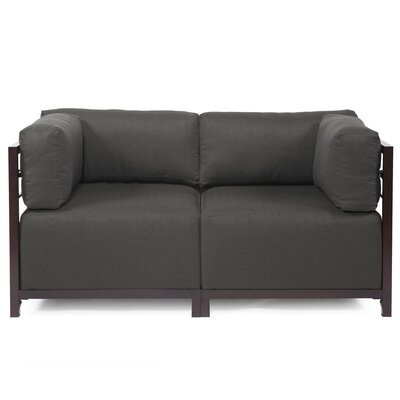 Woodsen Loveseat Upholstery: Polyester - Sterling Charcoal, Frame Finish: Mahogany
