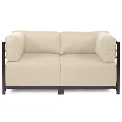 Woodsen Loveseat Upholstery: Polyester - Sterling Sand, Frame Finish: Mahogany