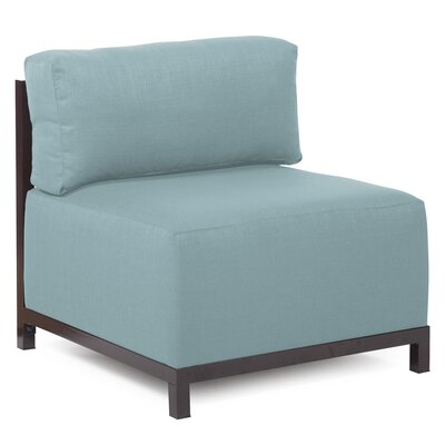 Woodsen SideChair Upholstery: Polyester - Sterling Breeze, Finish: Mahogany