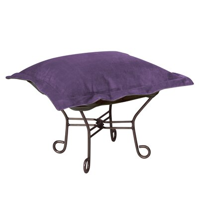 Azaria Scroll Ottoman Upholstery: Bella Eggplant, Frame: Mahogany