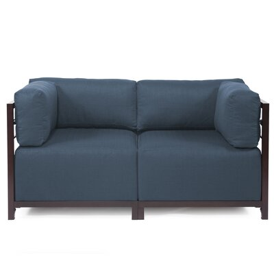 Woodsen Loveseat Upholstery: Polyester - Sterling Indigo, Frame Finish: Mahogany