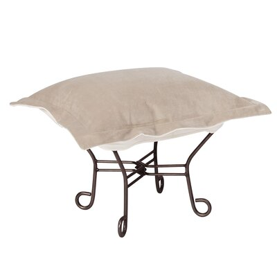 Azaria Scroll Ottoman Upholstery: Bella Sand, Frame: Mahogany