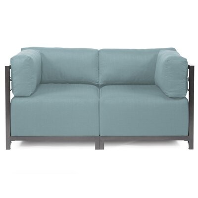 Woodsen Loveseat Upholstery: Polyester - Sterling Breeze, Frame Finish: Titanium
