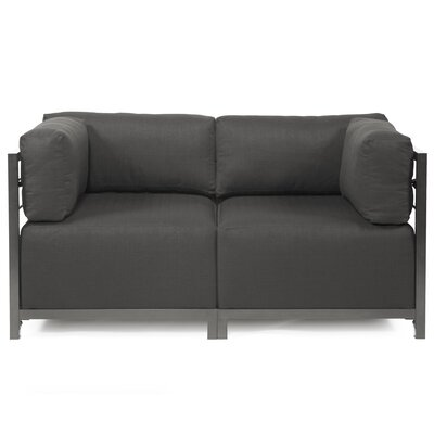 Woodsen Loveseat Upholstery: Polyester - Sterling Charcoal, Frame Finish: Titanium