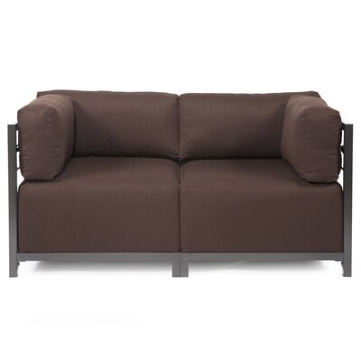 Woodsen Loveseat Upholstery: Polyester - Sterling Chocolate, Frame Finish: Titanium