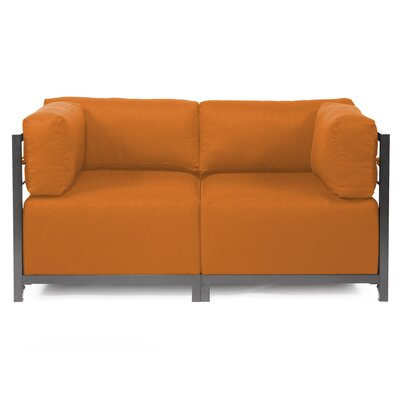 Woodsen Loveseat Upholstery: Polyester - Sterling Canyon, Frame Finish: Titanium