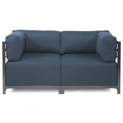 Woodsen Loveseat Upholstery: Polyester - Sterling Indigo, Frame Finish: Titanium