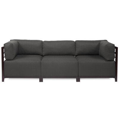 Alyssia 3 Seater Sofa Upholstery: Charcoal, Finish: Mahogany