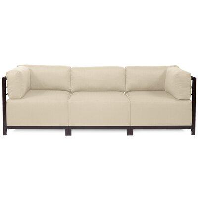 Alyssia 3 Seater Sofa Upholstery: Sand, Finish: Mahogany