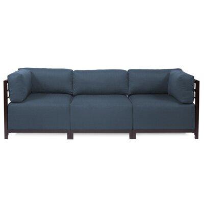 Alyssia 3 Seater Sofa Upholstery: Indigo, Finish: Mahogany
