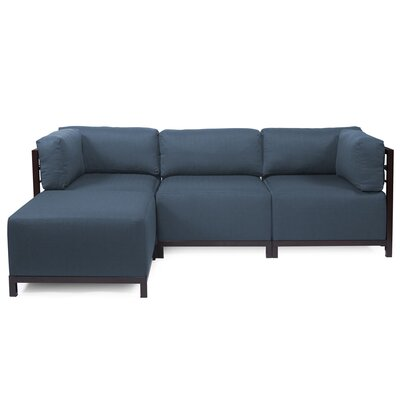 Alyssia Sectional Upholstery: Indigo, Finish: Mahogany