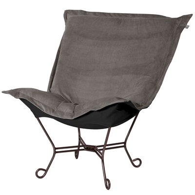 Azaria Scroll Lounge Chair Upholstery: Bella Pewter Black