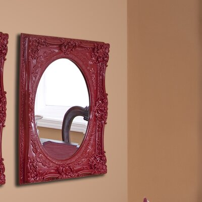 Rectangle Glossy White Mirror Finish: Red