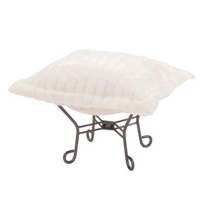Claribel Puff Ottoman Upholstery: Mink Snow, Frame Finish: Titanium