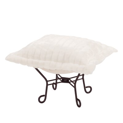 Claribel Puff Ottoman Upholstery: Mink Snow, Frame Finish: Mahogany