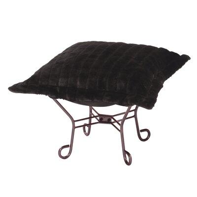 Claribel Puff Ottoman Upholstery: Mink Black, Frame Finish: Mahogany