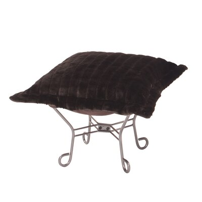 Claribel Puff Ottoman Upholstery: Mink Brown, Frame Finish: Titanium