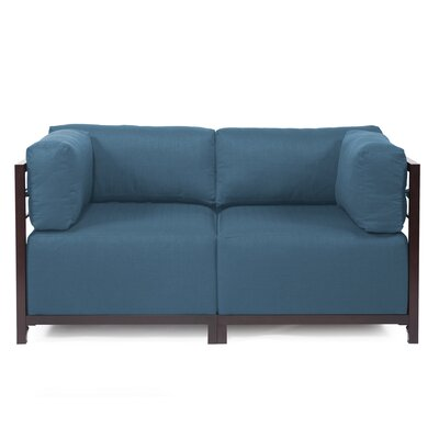 Woodsen Loveseat Frame Finish: Titanium, Upholstery: Seascape Moss